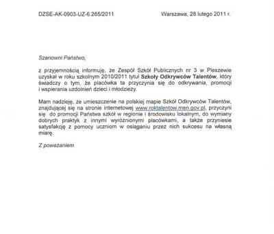 Certyfikaty Trójka ZSP nr 3 Plerszew